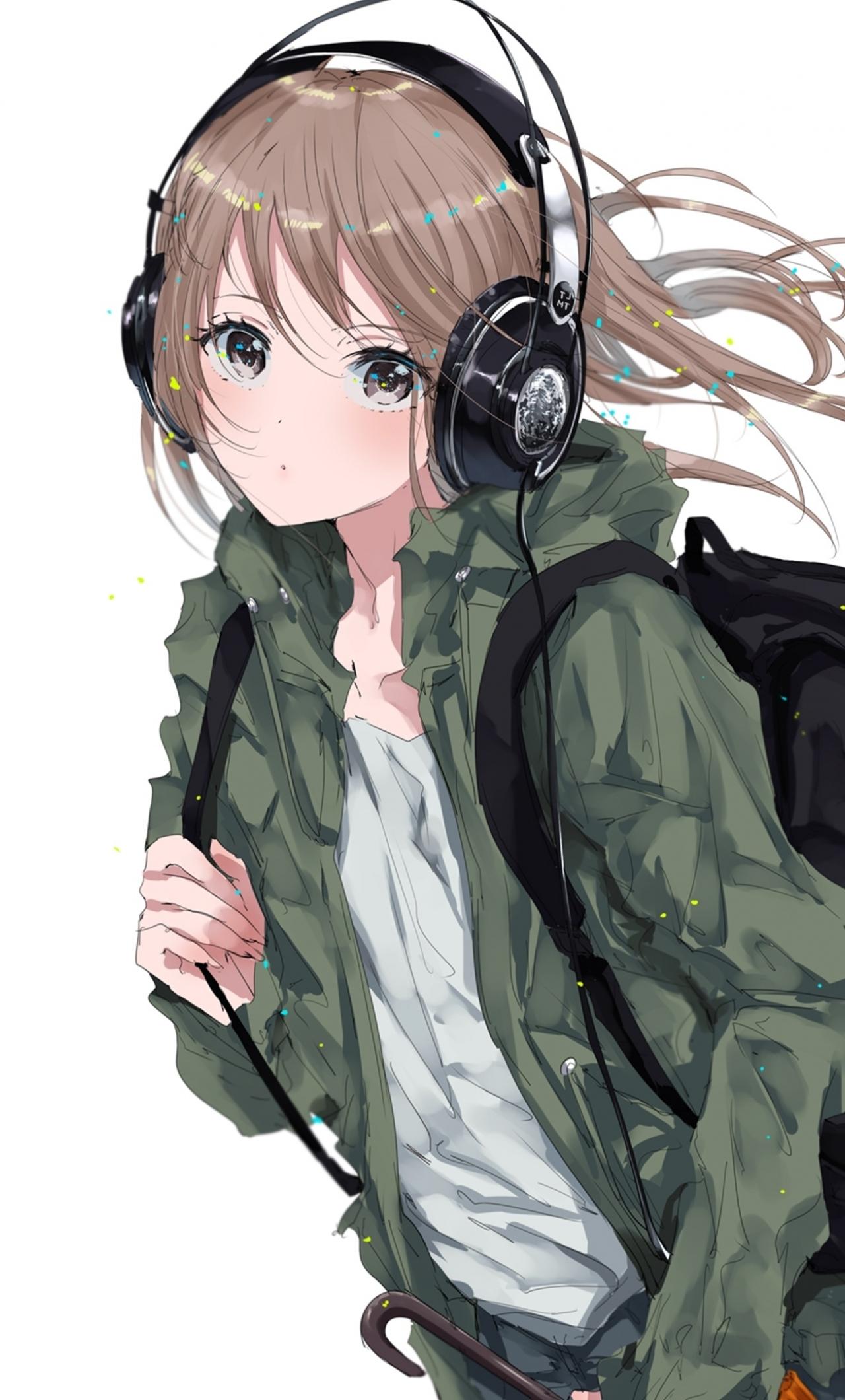 Download 1280x2120 Wallpaper Original Anime Girl Bag Headphone