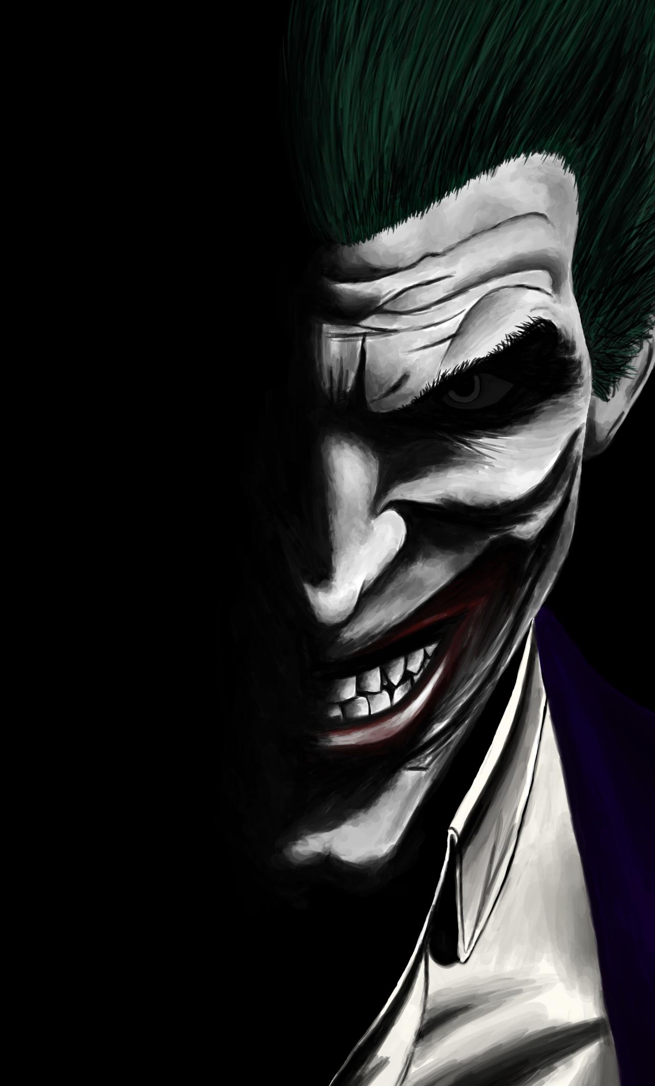 Joker Dark Dc Comics Villain Artwork 1280x2120 Wallpaper