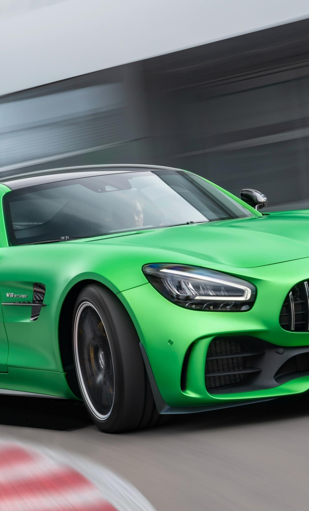 Mercedes-AMG GT, green car, on-road, 1280x2120 wallpaper