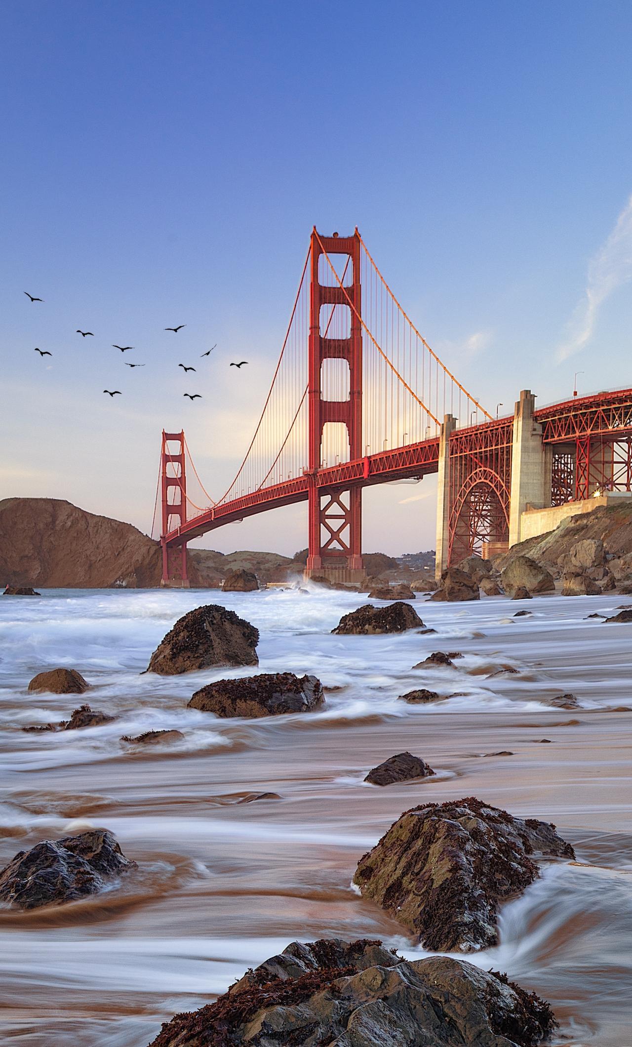 Download 1280x2120 Wallpaper Bridge Coast Golden Gate Bridge