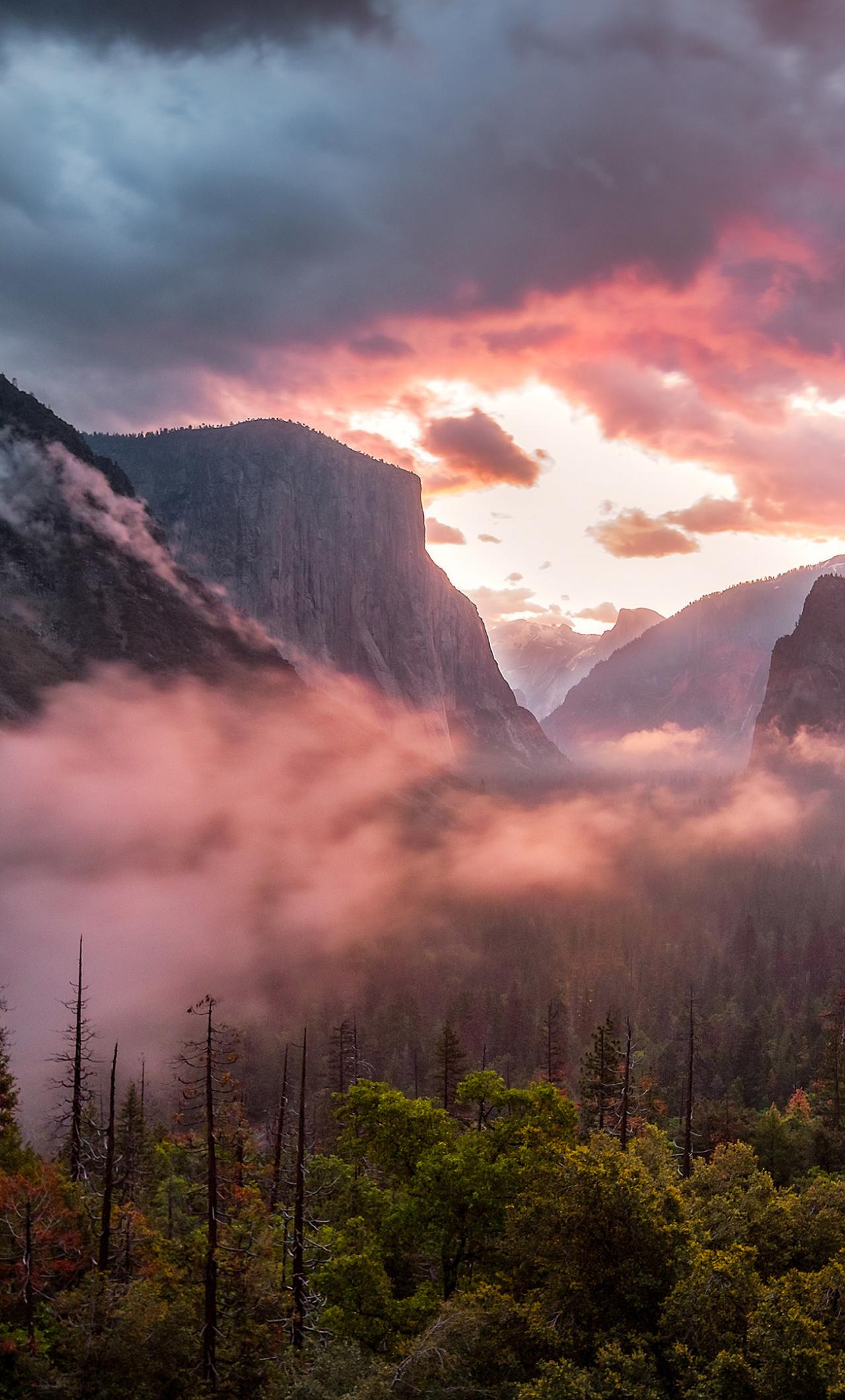 Download 1280x2120 Wallpaper Misty Yosemite Valley National