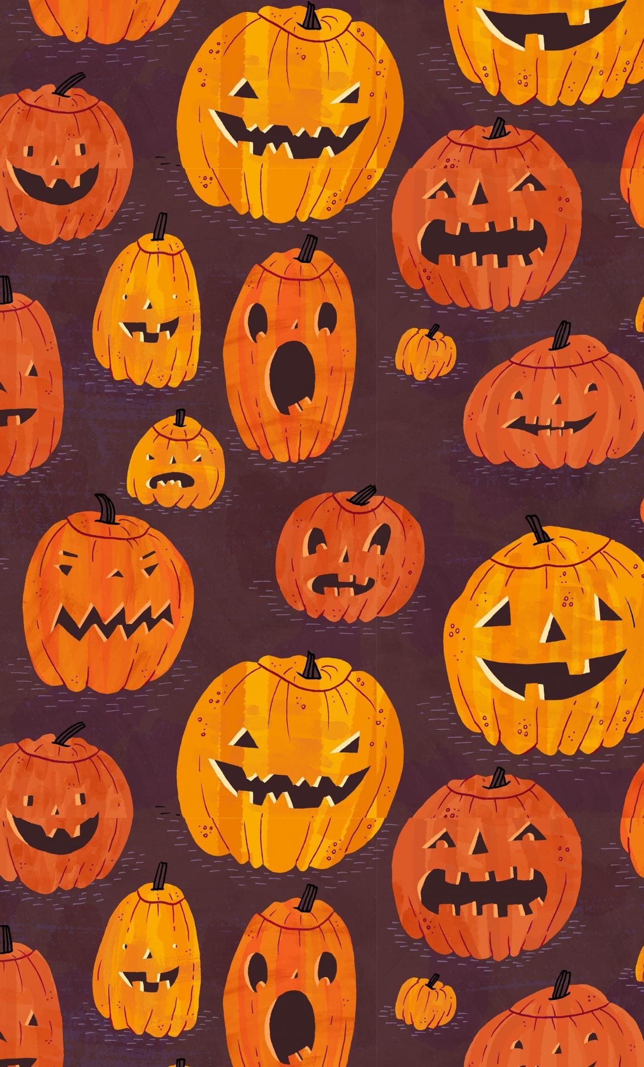 Download 1280x2120 Wallpaper Pumpkin Pattern Halloween Iphone 6