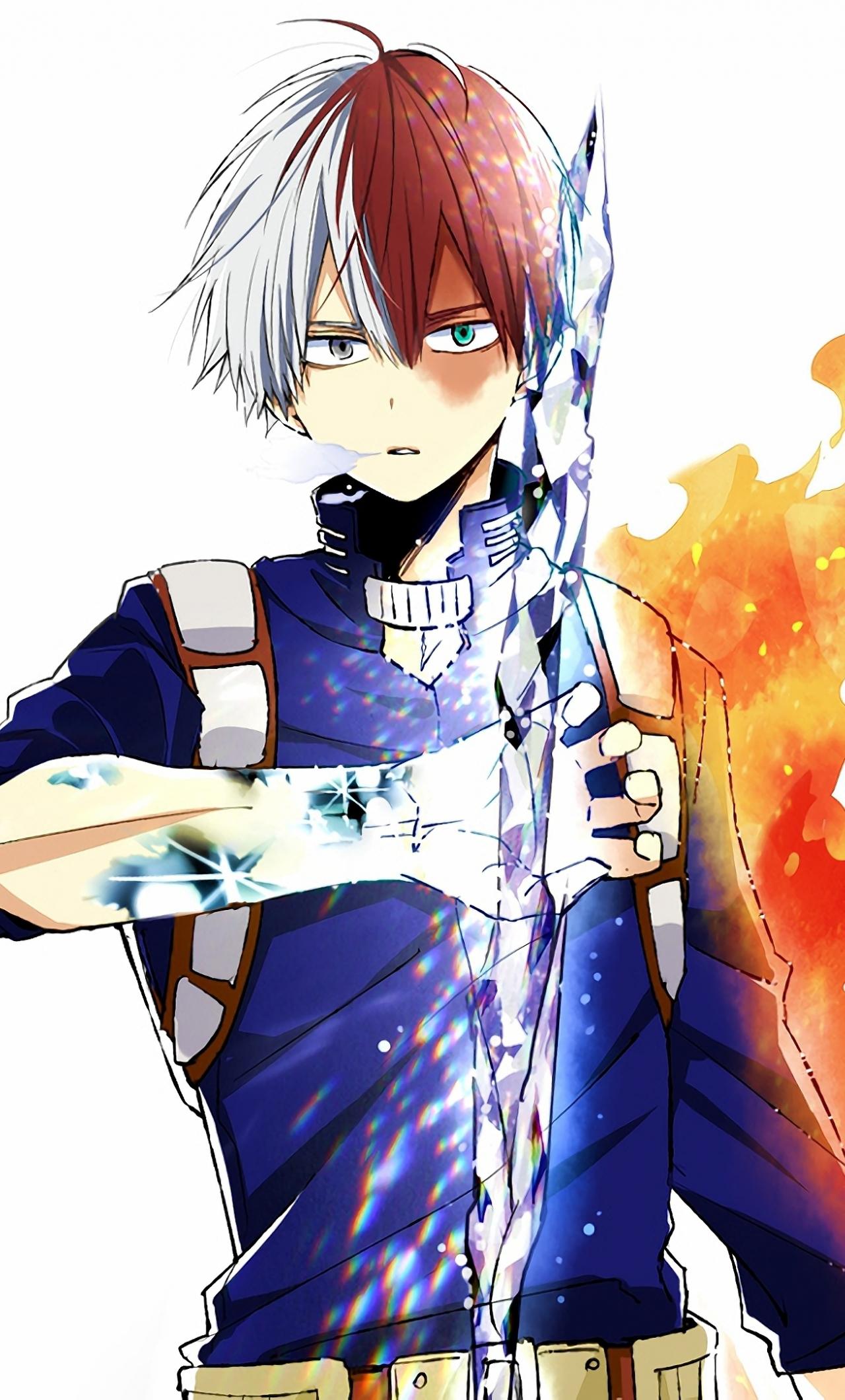 Download 1280x2120 Wallpaper Anime Shouto Todoroki Ice And