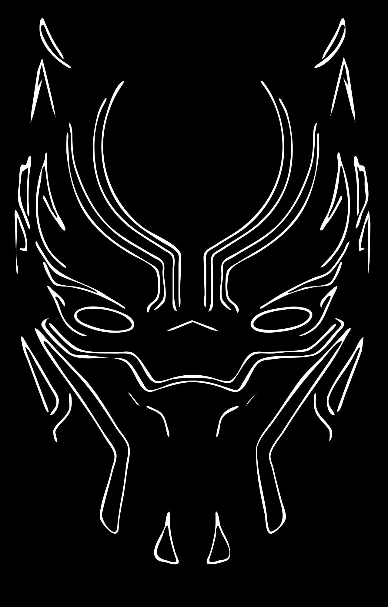 Download 1280x2120 Wallpaper Black Panther Mask Minimal