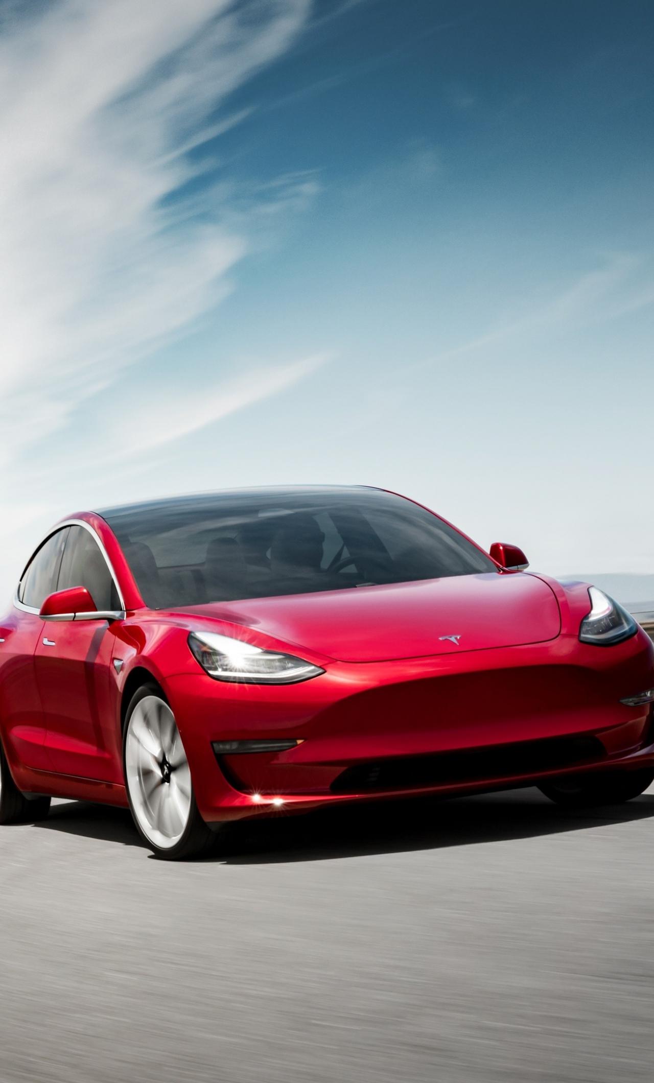 Download 1280x2120 Wallpaper Tesla Model 3 On Road Red Iphone 6