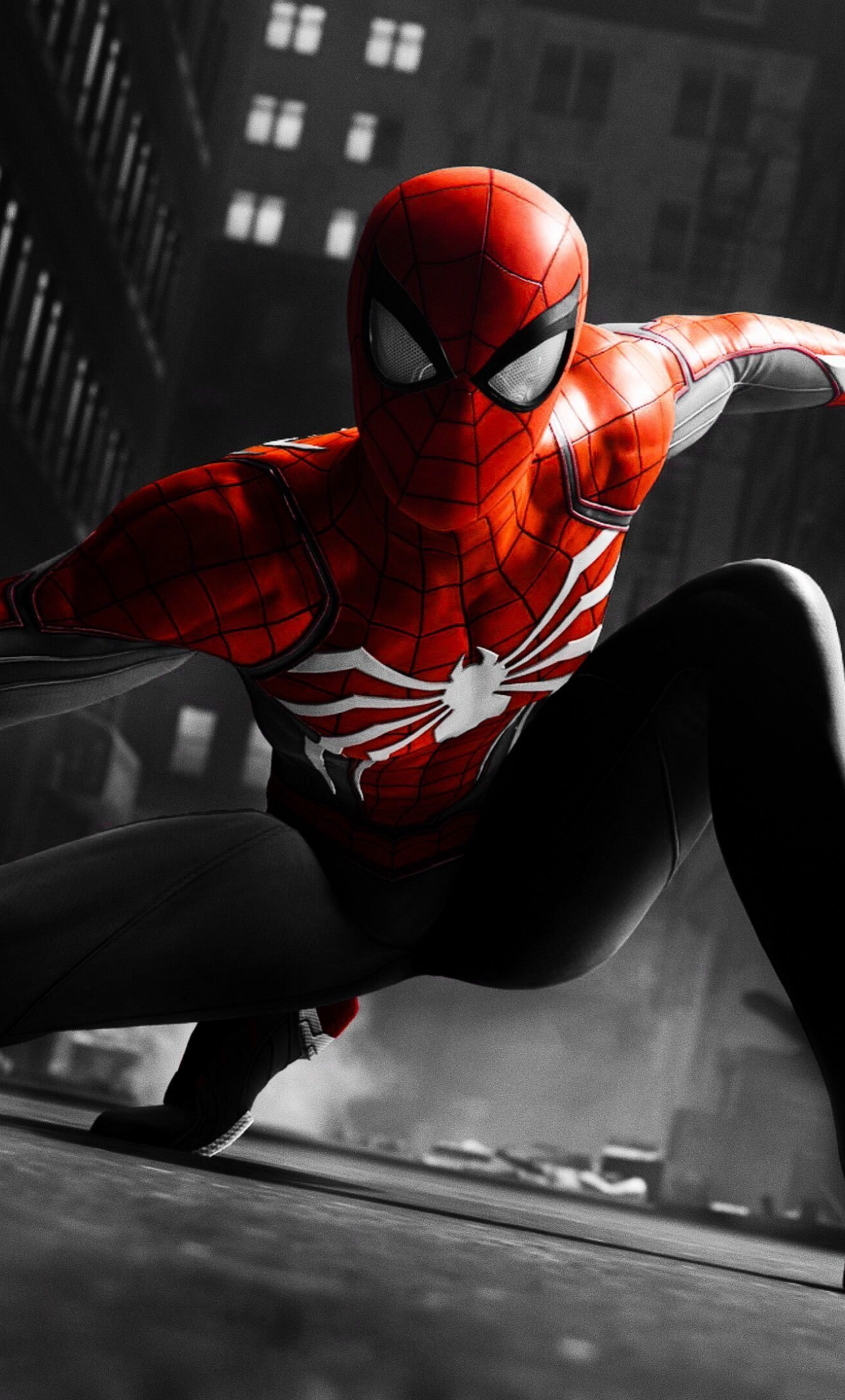 Download 1280x2120 Wallpaper Black And Red Suit Spider Man Video