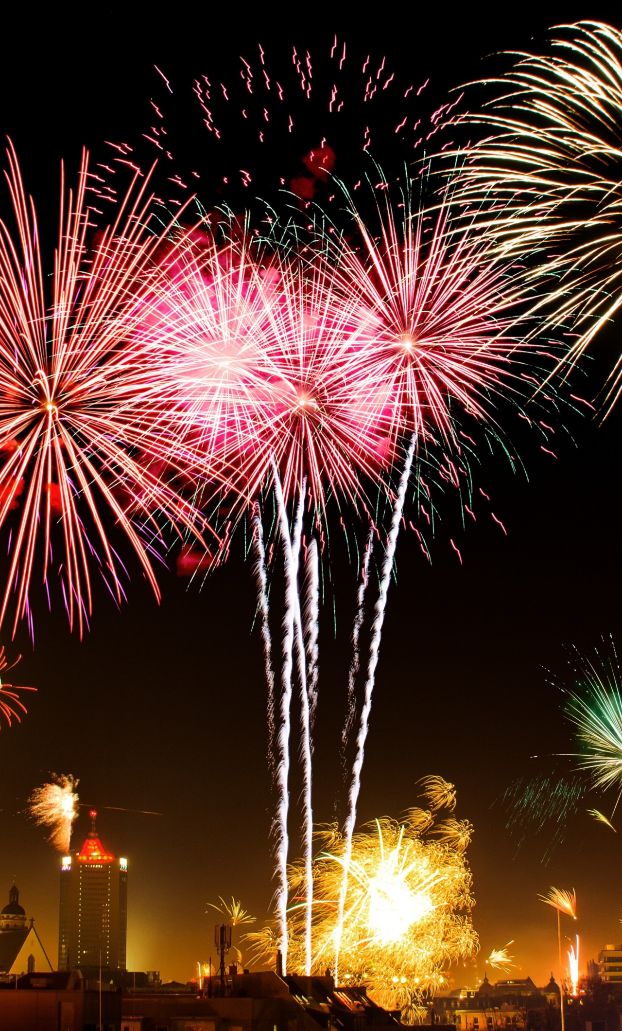 Download 1280x2120 Wallpaper New Years Eve 2018 Fireworks Night