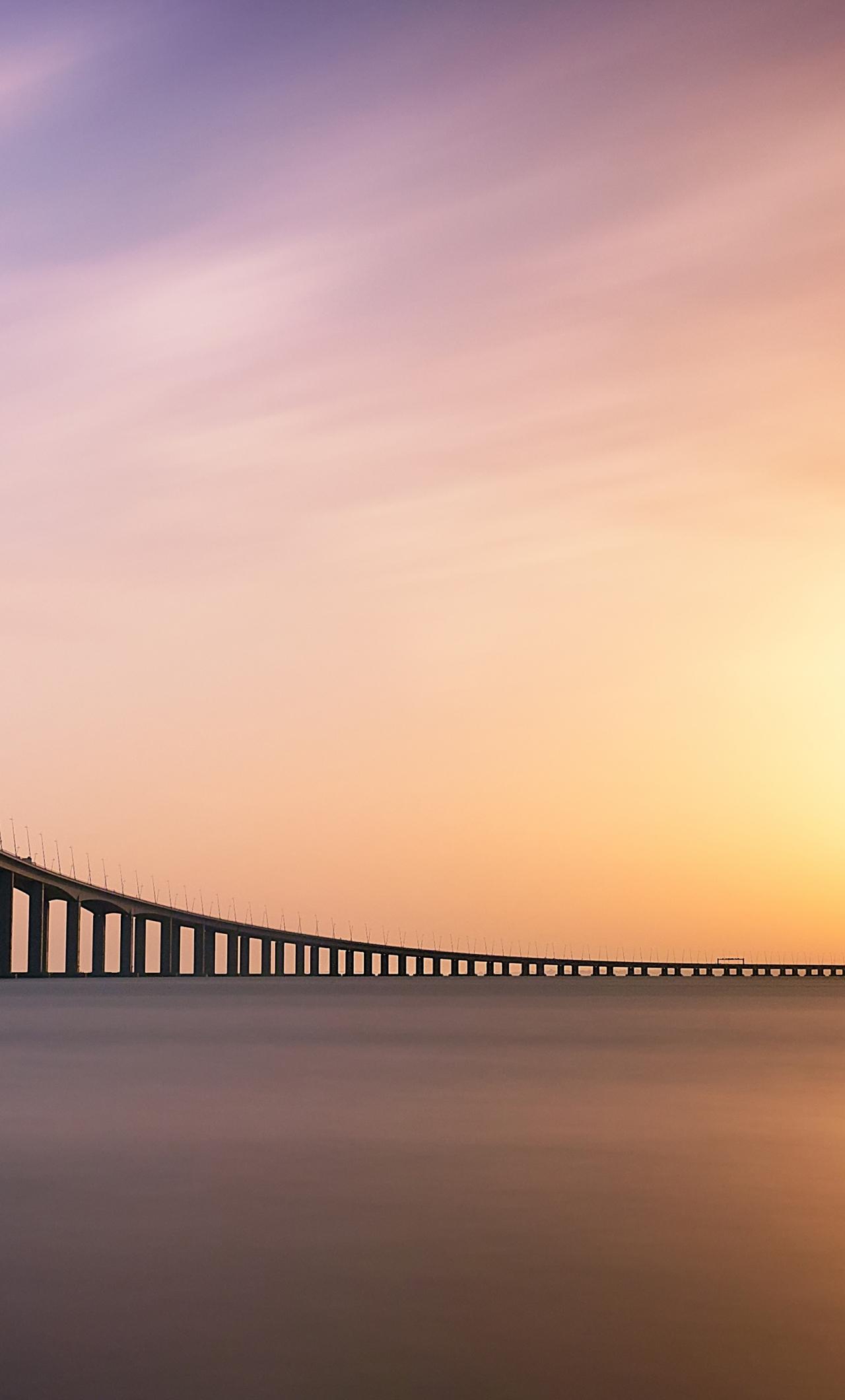 Download 1280x2120 Wallpaper Sunset Minimal Vasco Da Gama Bridge