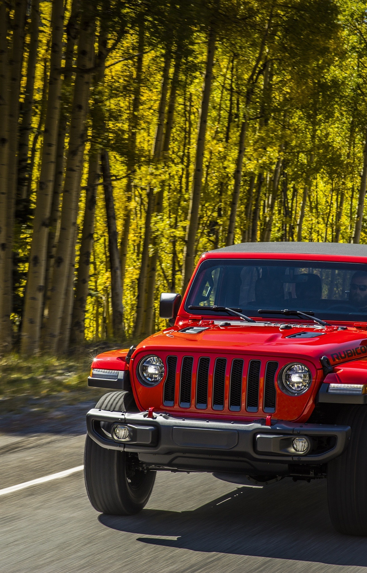 Download 1280x2120 Wallpaper Red Jeep Wrangler Suv On Road