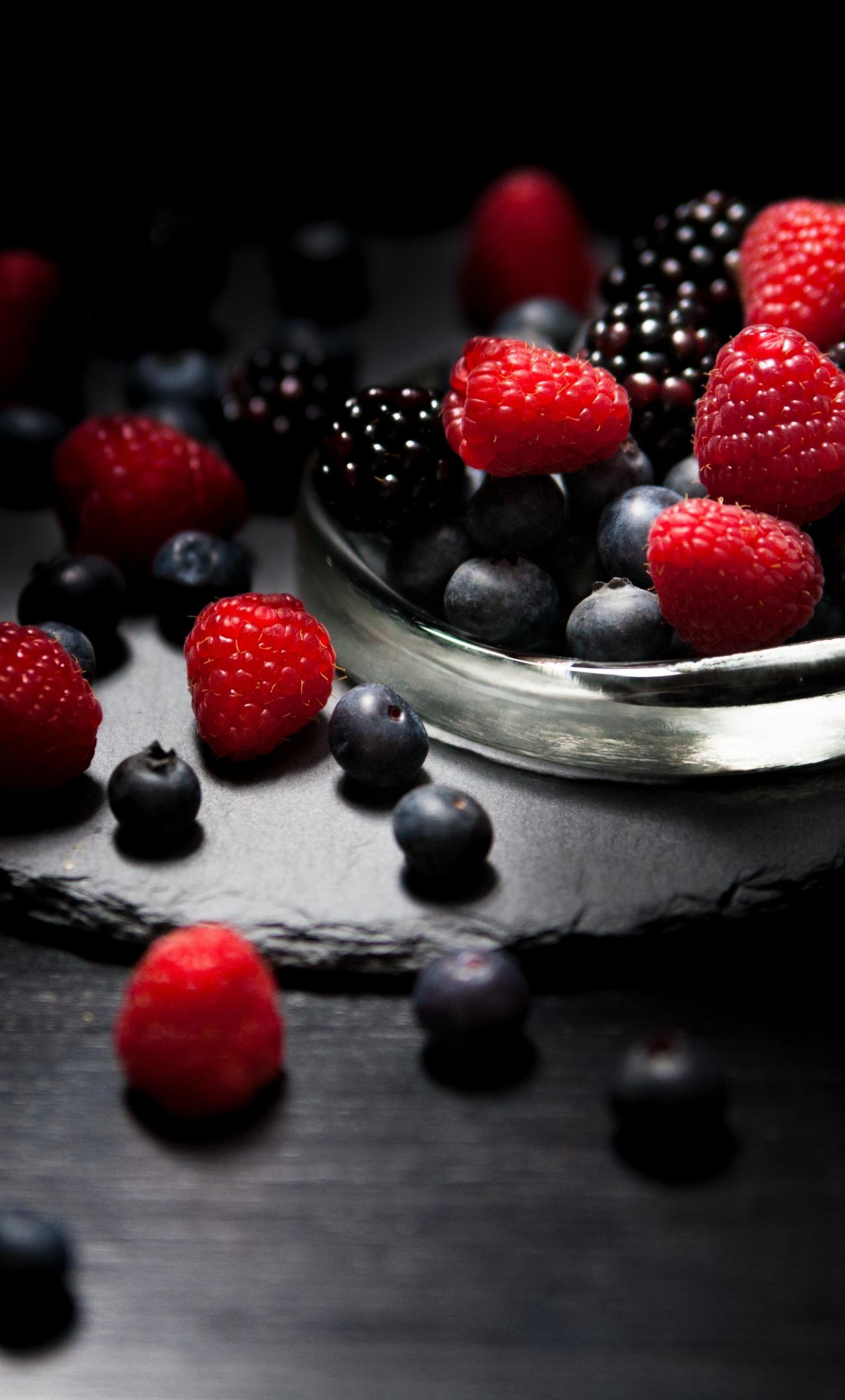Dark mood food raspberry blackberry