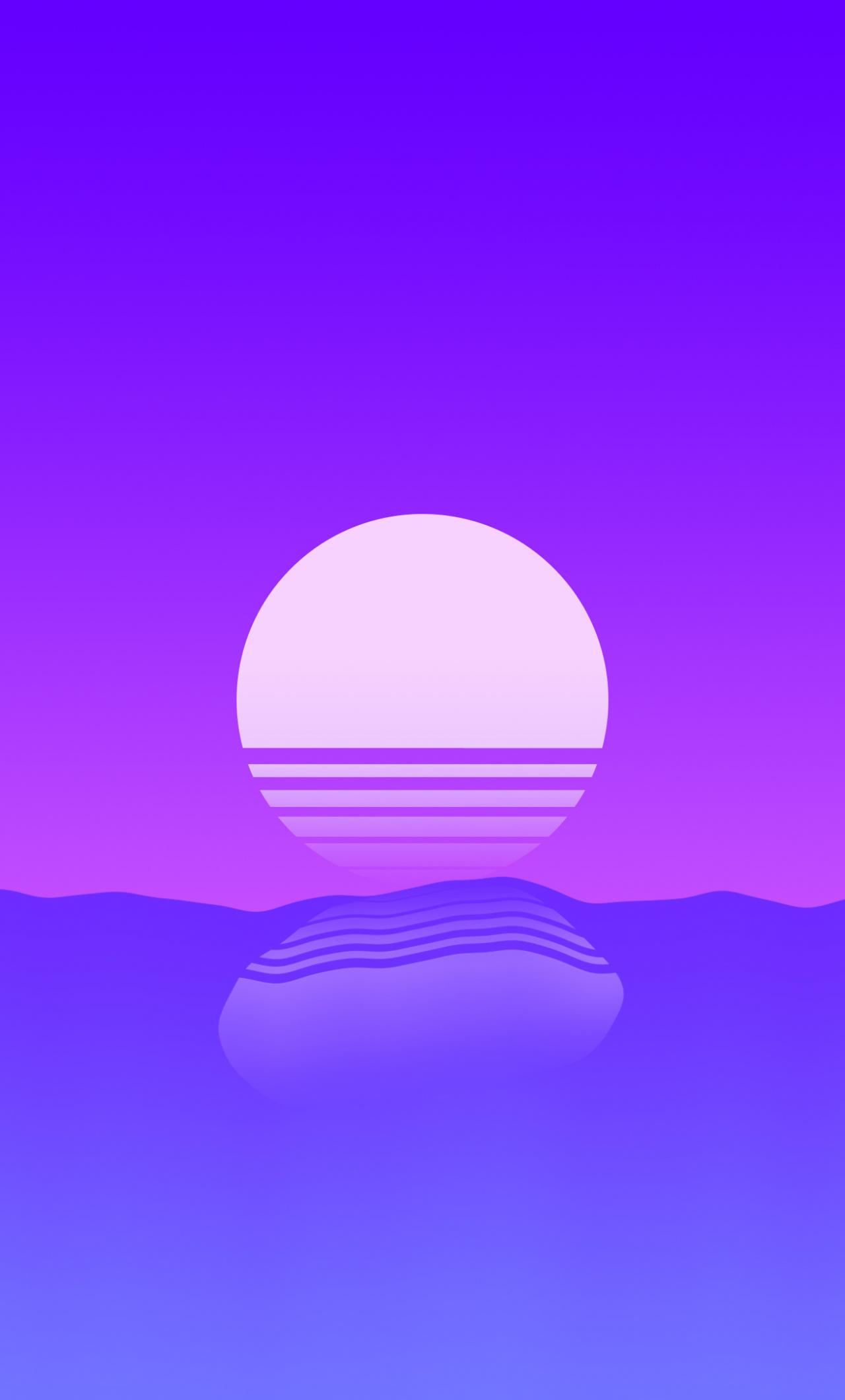 sunset sea outrun retro art