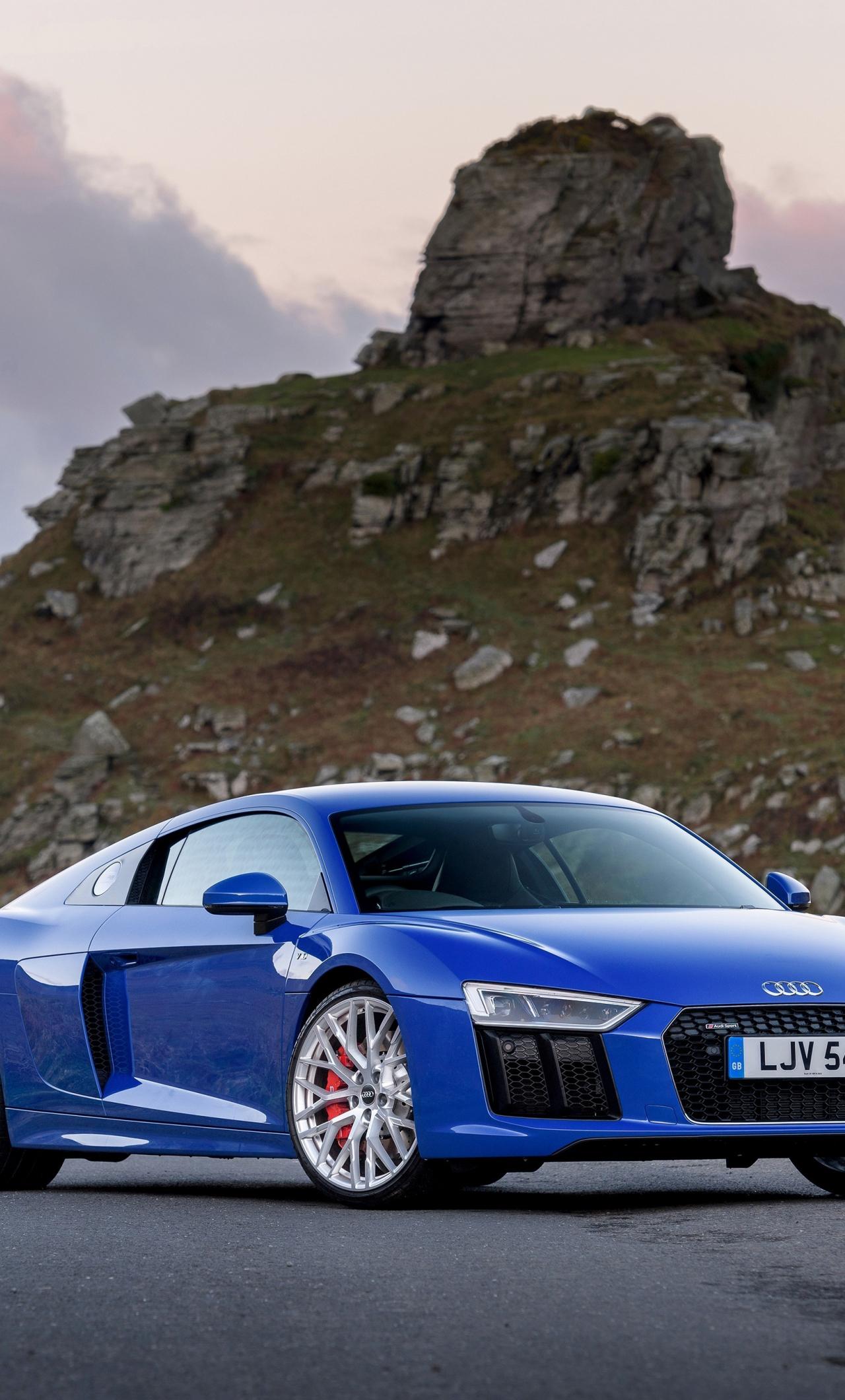 Download 1280x2120 Wallpaper 2018 Audi R8 V10 Blue Car Front