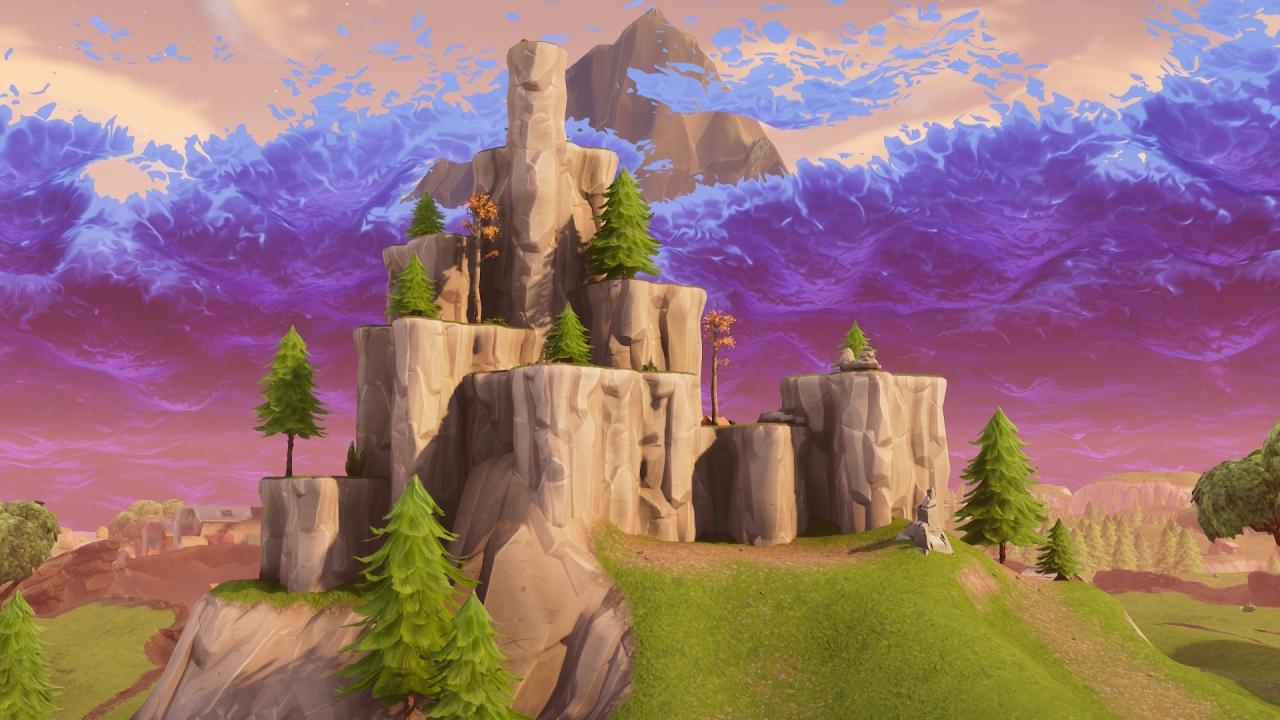 download 1280x720 wallpaper rocks, mountain, fortnite, video game
