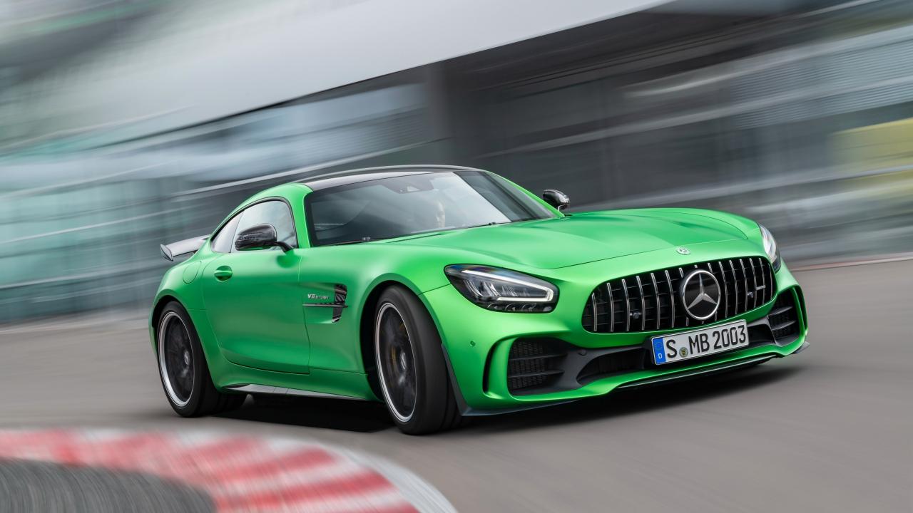 Mercedes-AMG GT, green car, on-road, 1280x720 wallpaper