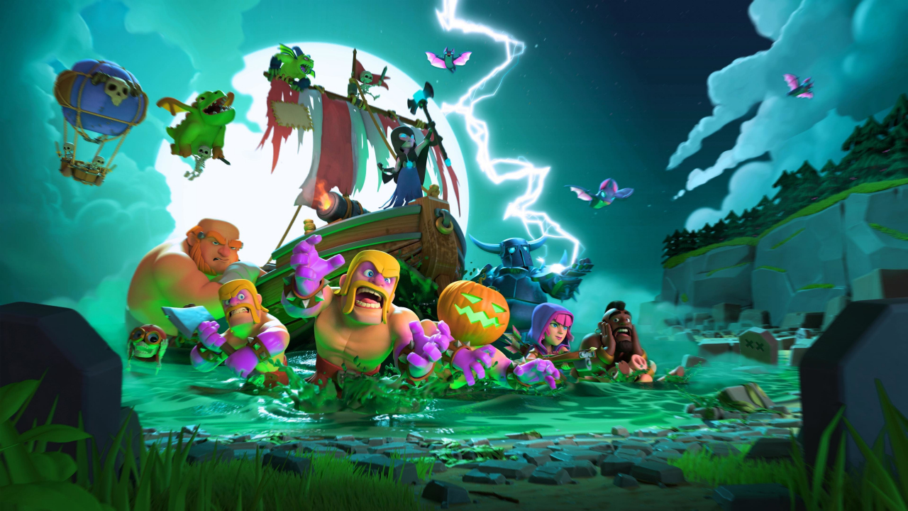 Download 1280x720 Wallpaper Clash Of Clans Mobile Game Halloween