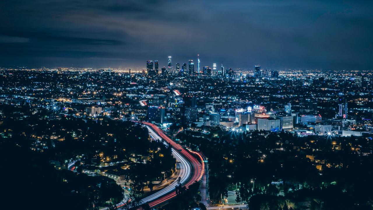 Los Angeles, city, skyscrapers, night, 1280x720 wallpaper