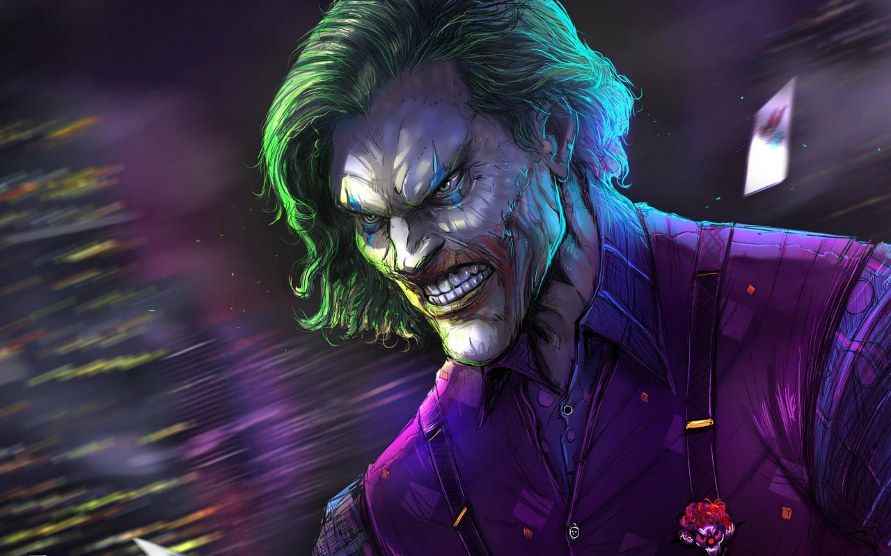 Download 1280x800 Wallpaper Angry Joker Villain Gree Hair Villain