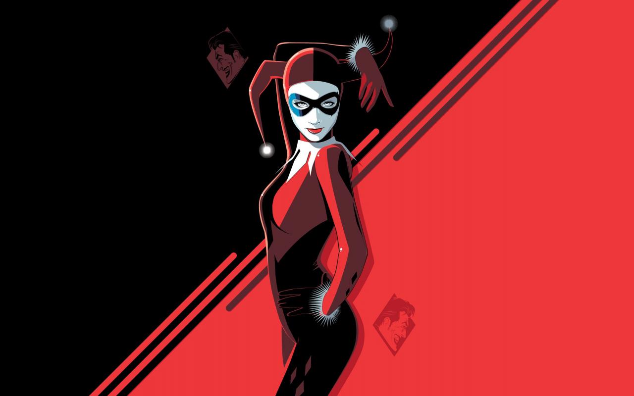 Harley Quinn, minimal, villain, minimal, art, 1280x800 wallpaper