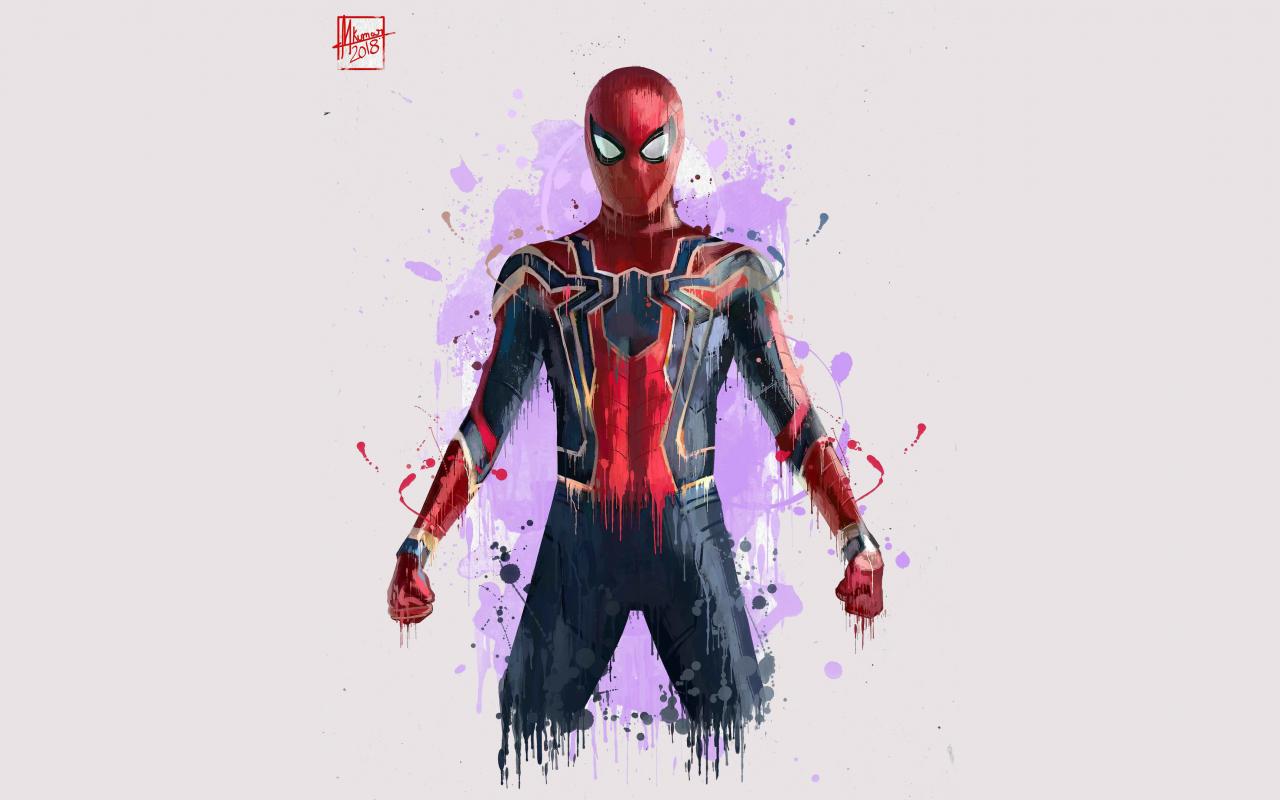 Download 1280x800 Wallpaper Spiderman Minimal Avengers Infinity