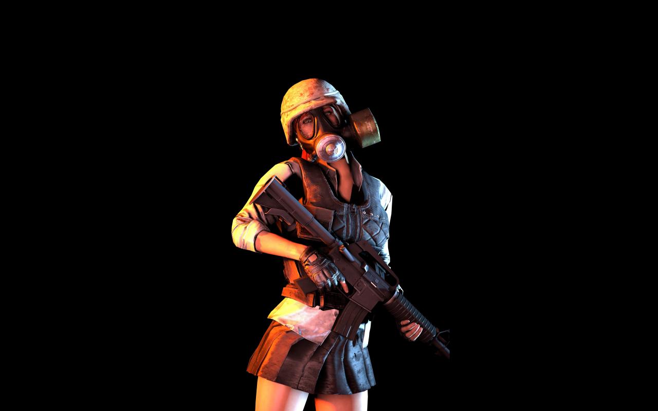PUBG, Mask Girl With Gun, Video Game, 1280x800 Wallpaper