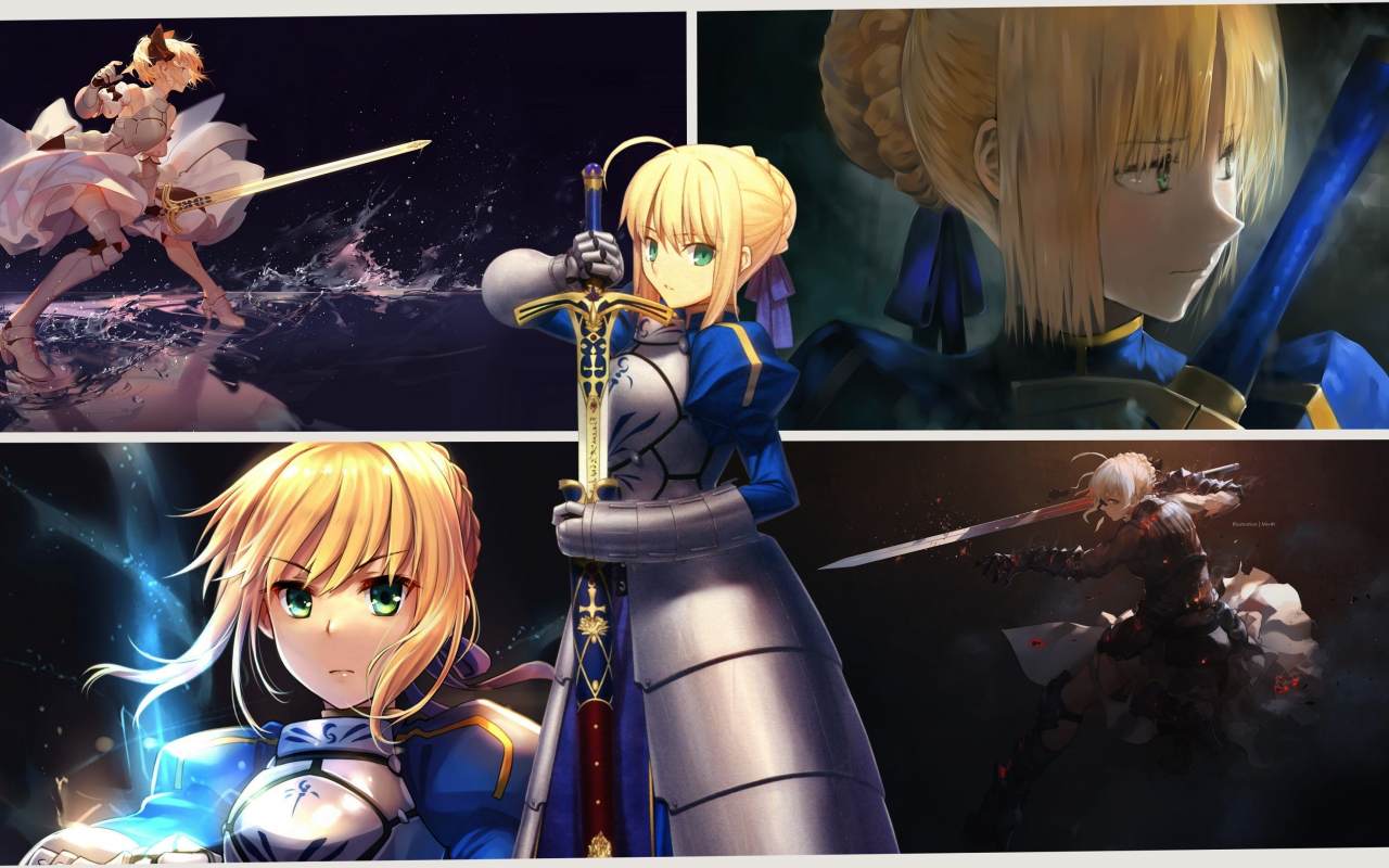 Download 1280x800 Wallpaper Collage Saber Alter Angry Anime
