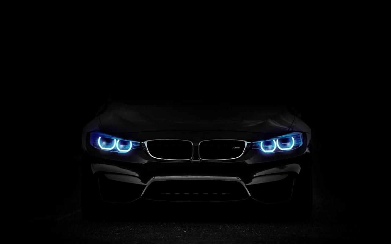 Download 1280x800 Wallpaper Bmw Car Blue Headlight Dark Full Hd
