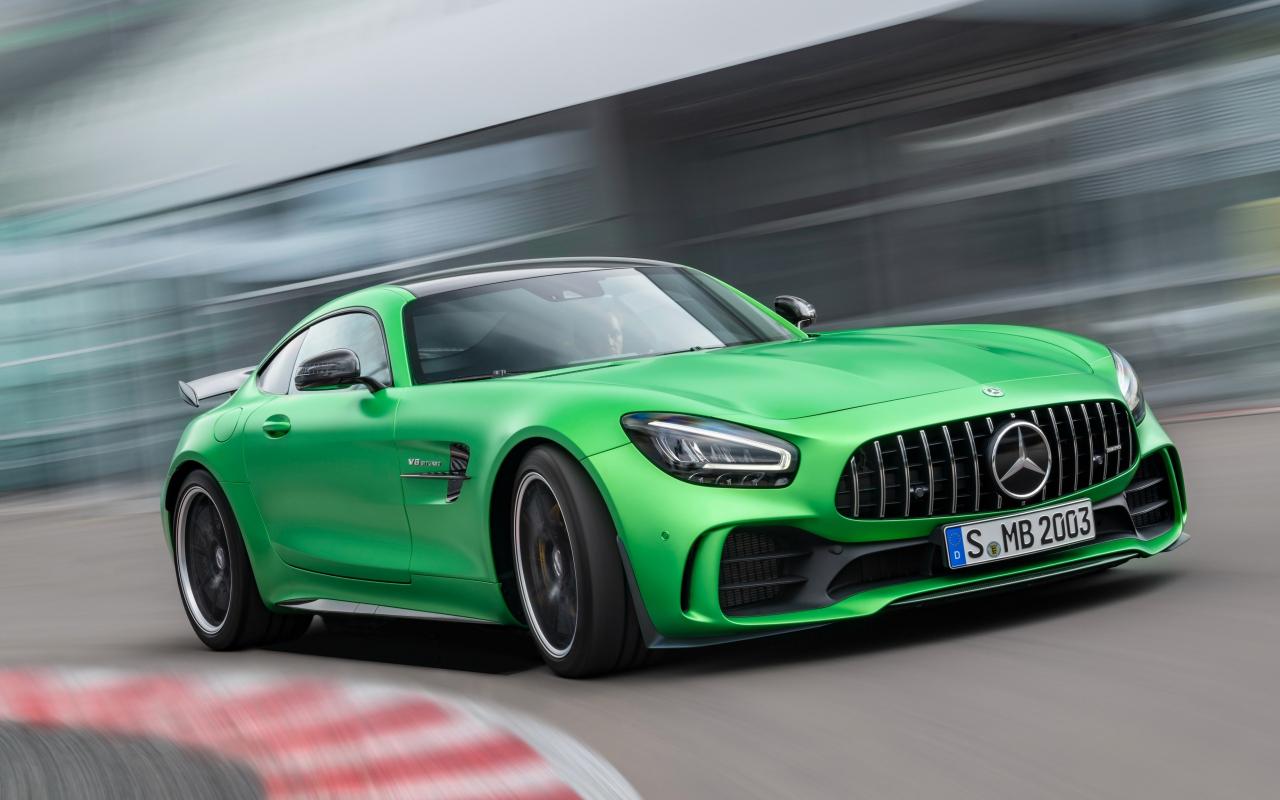 Mercedes-AMG GT, green car, on-road, 1280x800 wallpaper