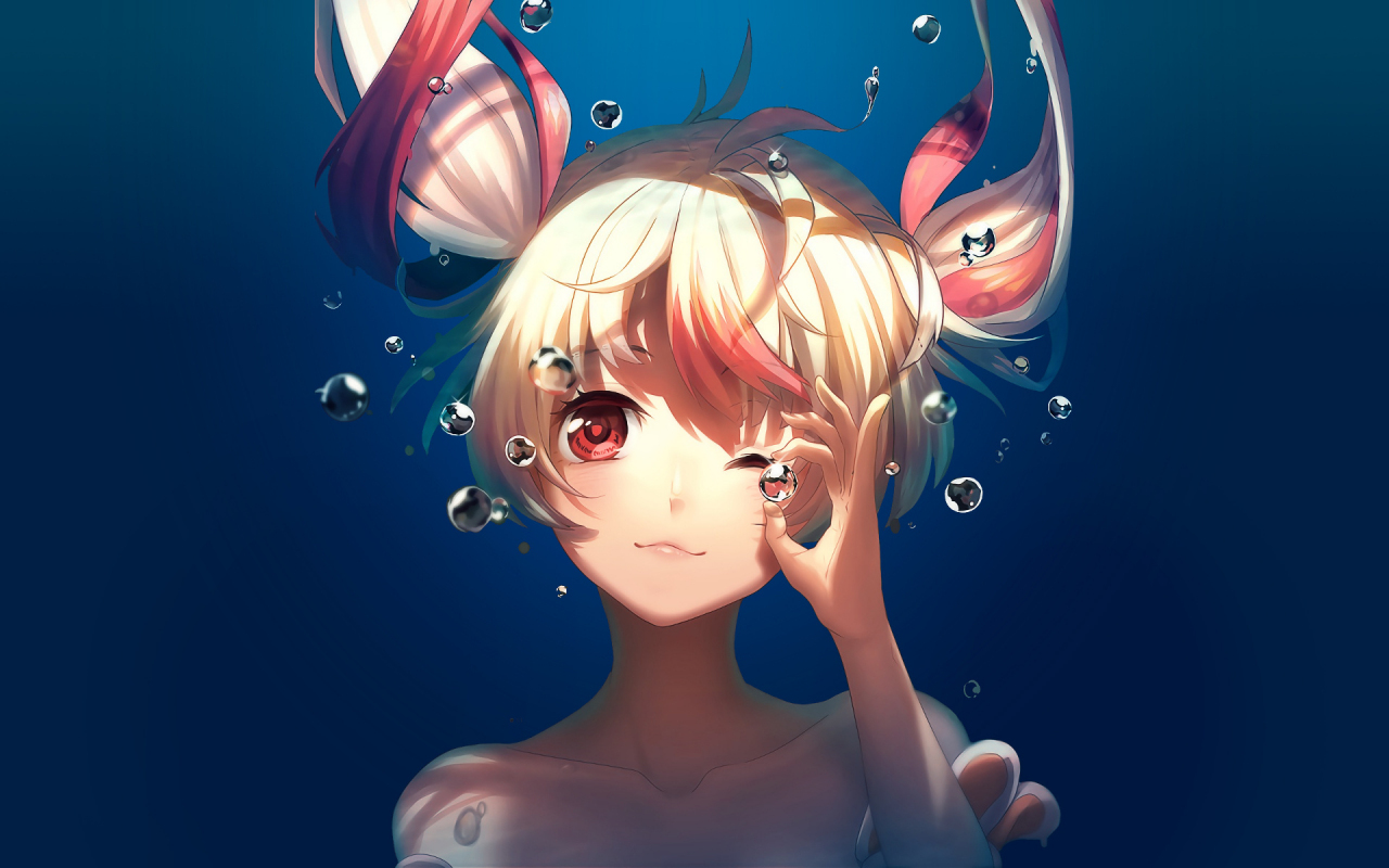 Bubble, underwater, cute, anime girl, Gonna be the Twin-Tail!!, 1280x800 wallpaper