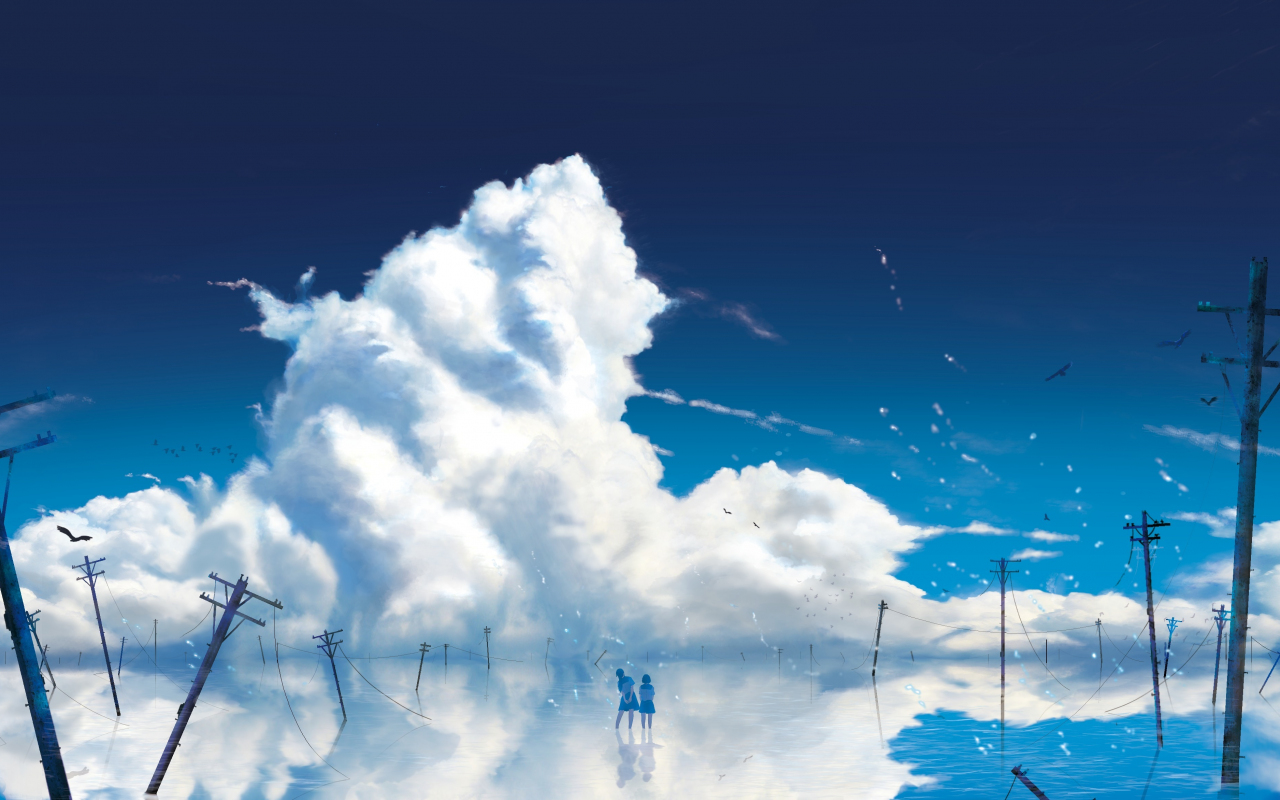 Anime girls, outdoor, clouds, 1280x800 wallpaper