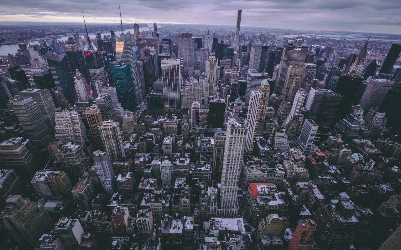 New york, city, buildings, aerial view, 1280x800 wallpaper