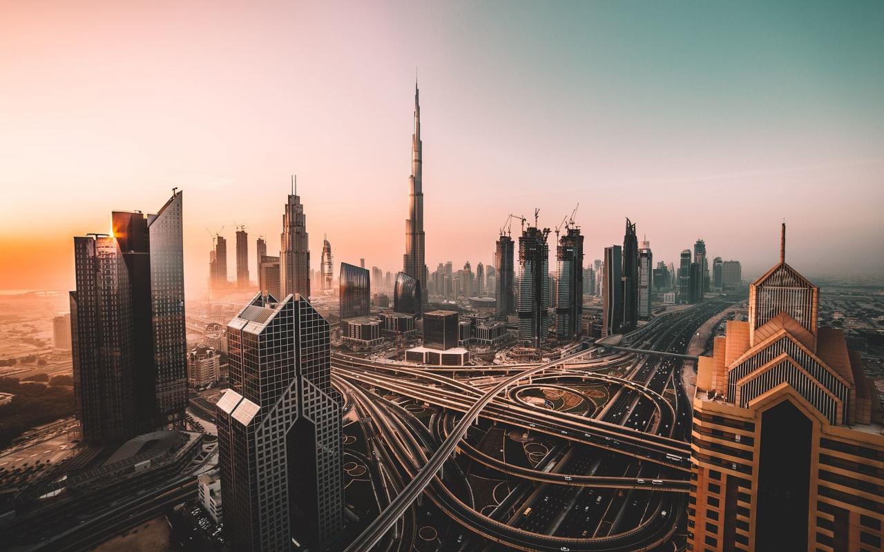 Dubai, skyline, cityscape, skyscrapers, buildings, Burj Khalifa, city, 1280x800 wallpaper