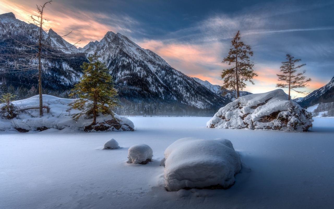 Landscape, mountains, winter, sunset, 1280x800 wallpaper
