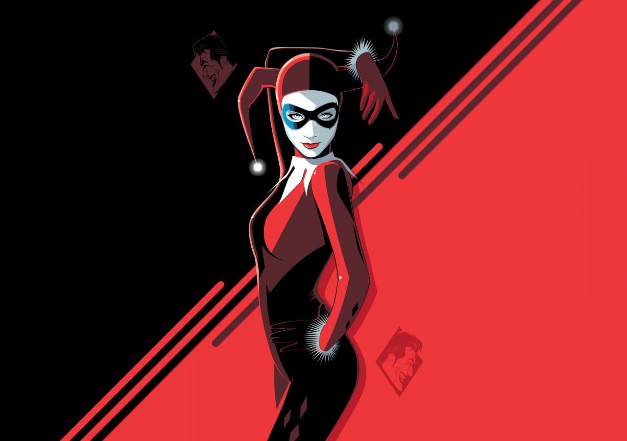 Harley Quinn, minimal, villain, minimal, art, 1280x900 wallpaper