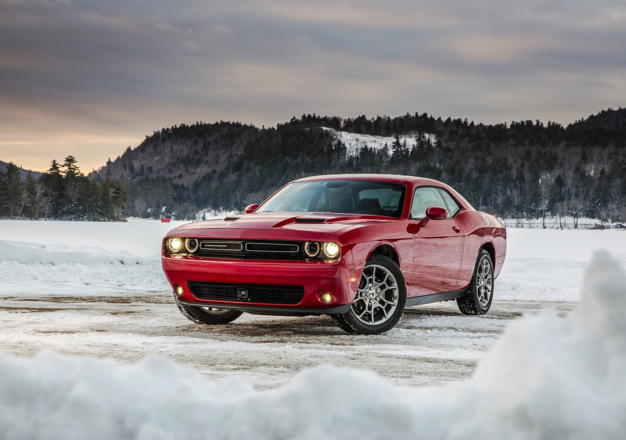Dodge challenger, red muscle car, 1280x900 wallpaper