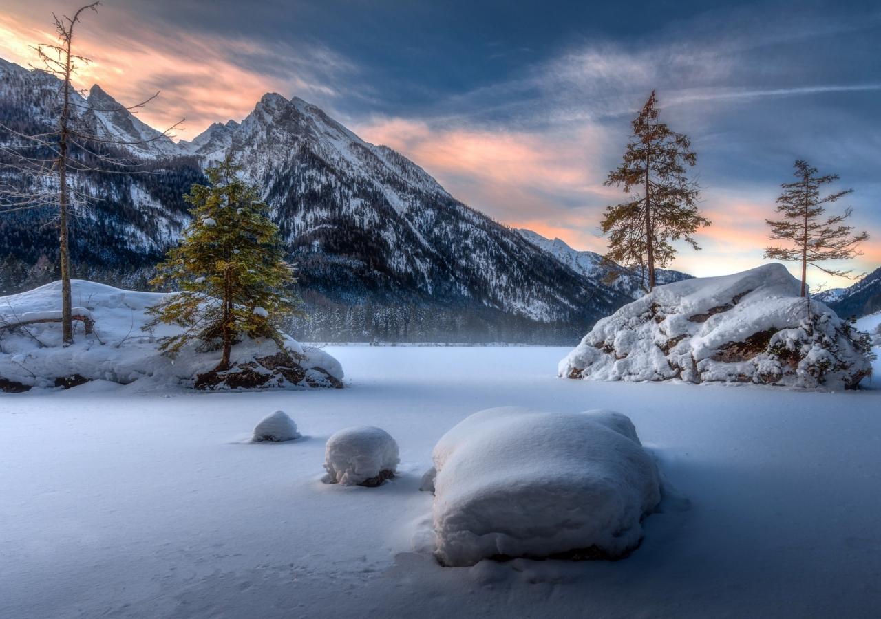 Landscape, mountains, winter, sunset, 1280x900 wallpaper
