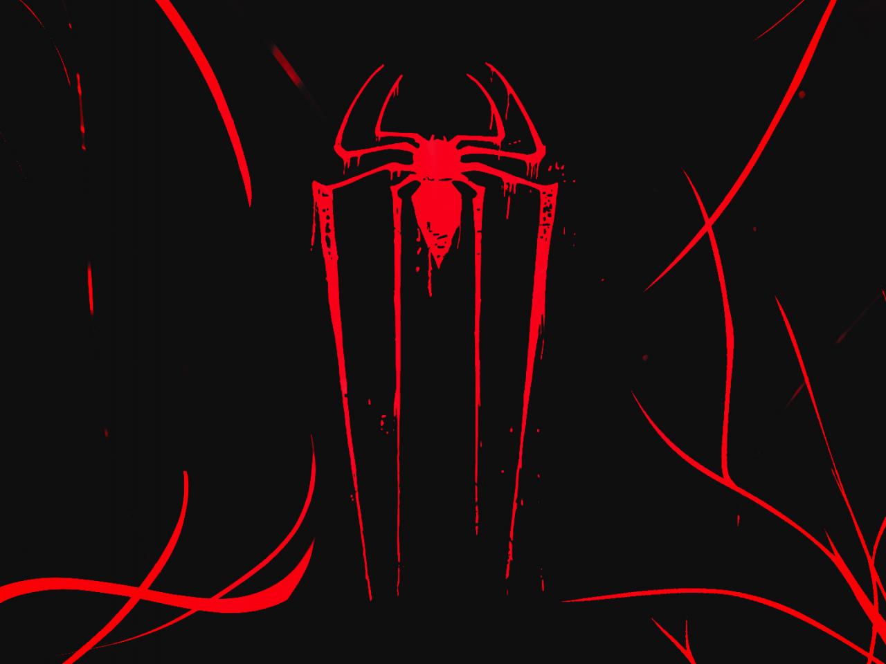 Logo, minimal, spider-man, dark, 1280x960 wallpaper
