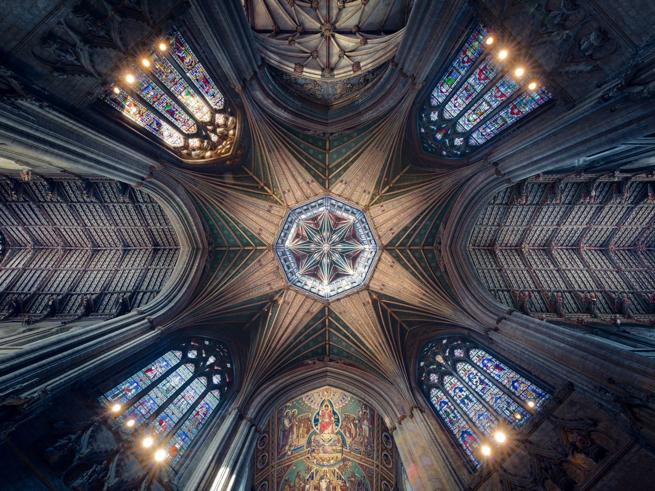 Ceiling, cathedral, symmetrical interior, architecture, 1280x960 wallpaper