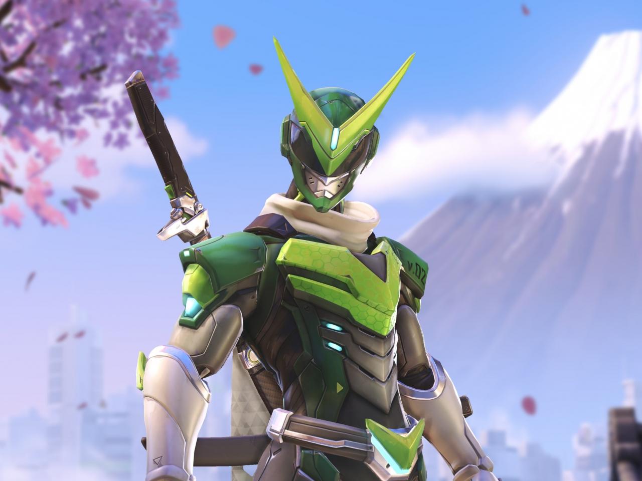 Download 1280x960 Wallpaper Overwatch Genji Green Skin