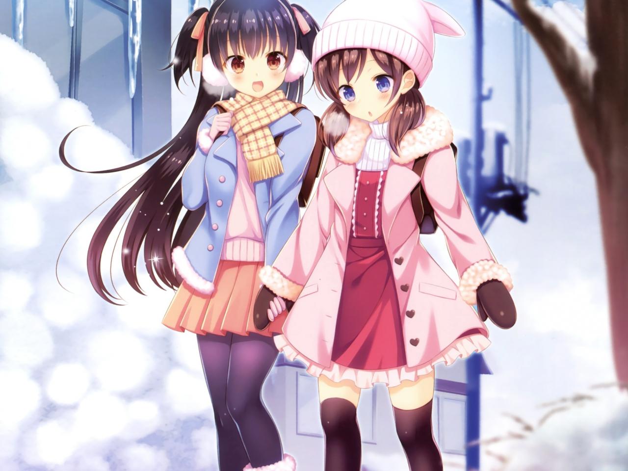 Winter outdoor girls anime friends 1280x960 wallpaper