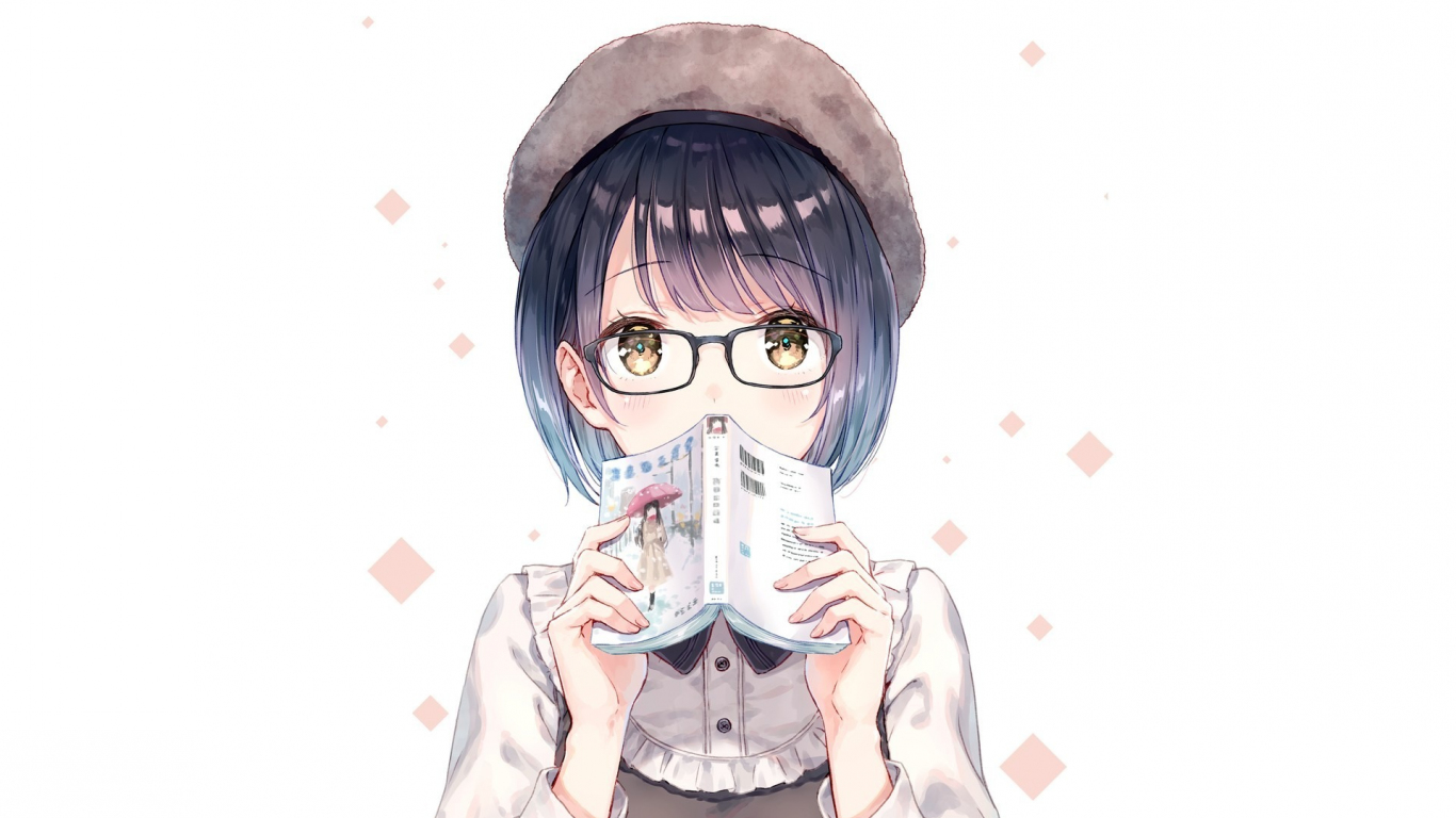Download 1366x768 Wallpaper Anime Girl Short Hair Book Tablet Laptop 1366x768 Hd Image Background 1478