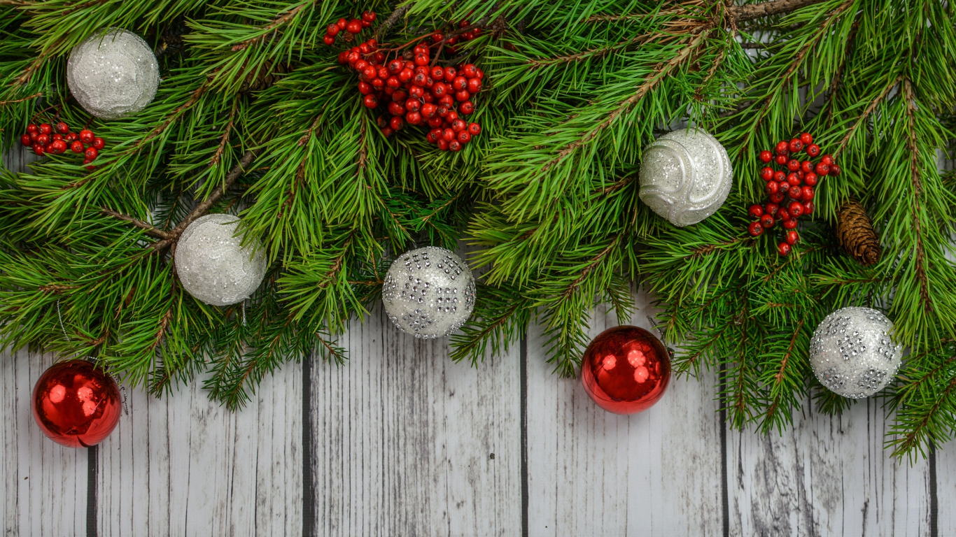 Download 1366x768 Wallpaper Decorations Christmas Holiday 4k