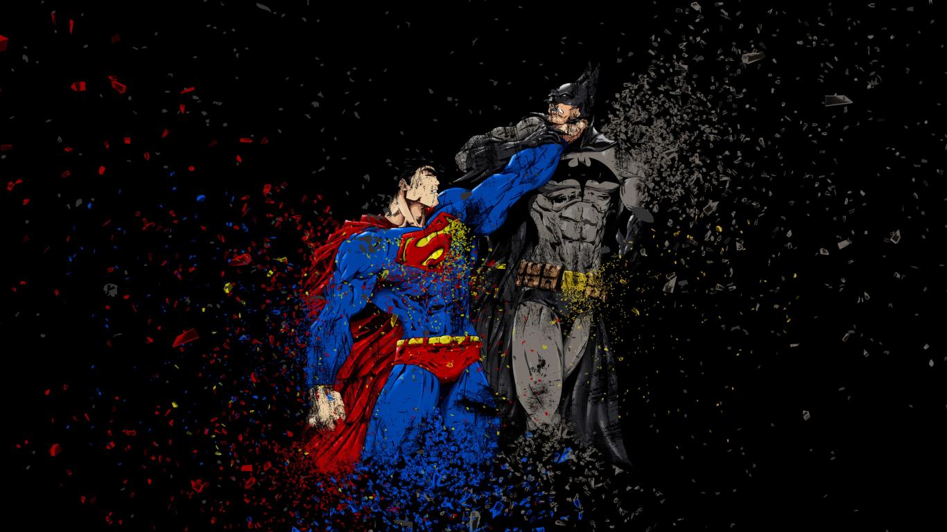 Download 1366x768 Wallpaper Batman Vs Superman Ruggon Style Art