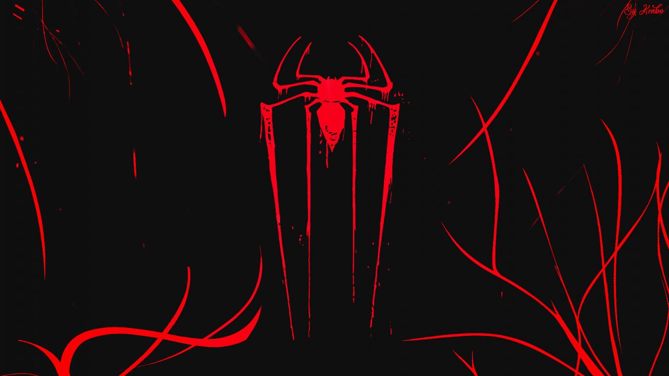 Logo, minimal, spider-man, dark, 1366x768 wallpaper