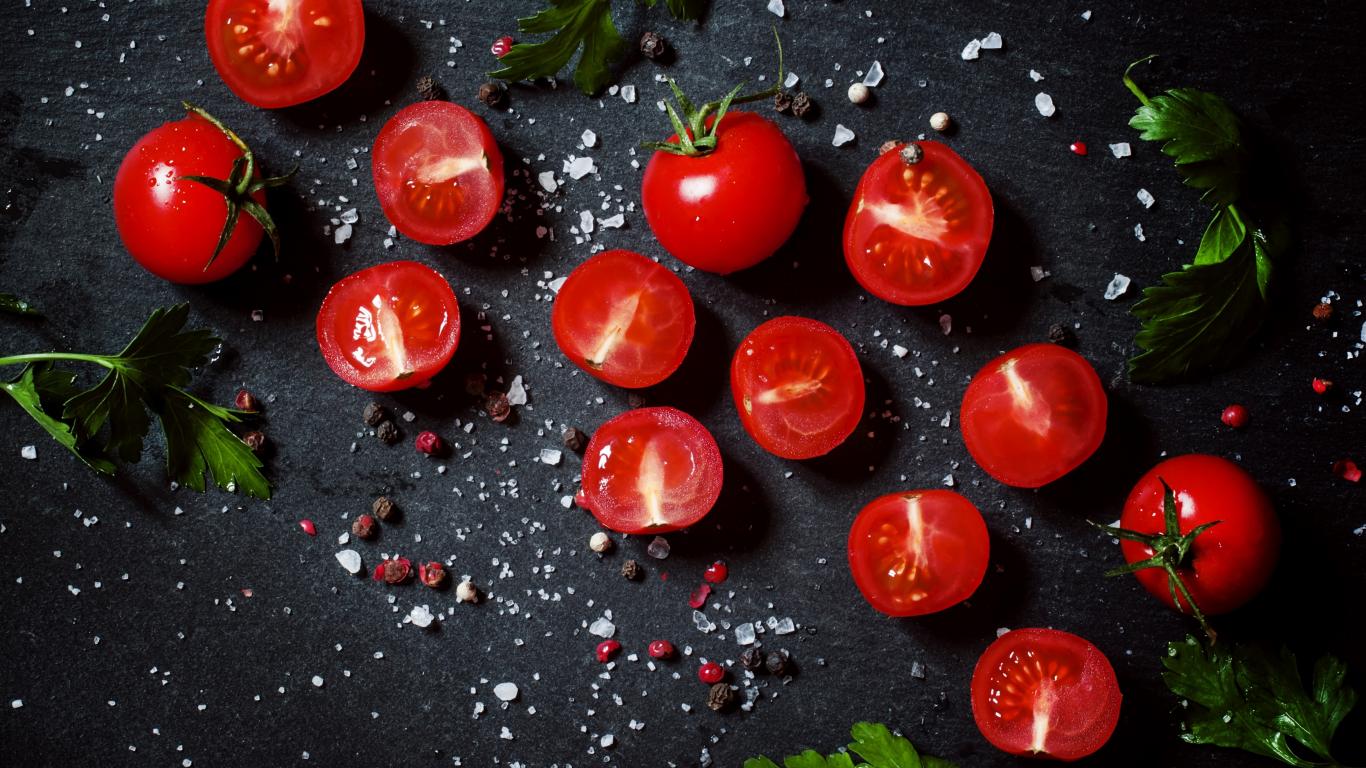 Tomato, vegetables, kitchen, 1366x768 wallpaper