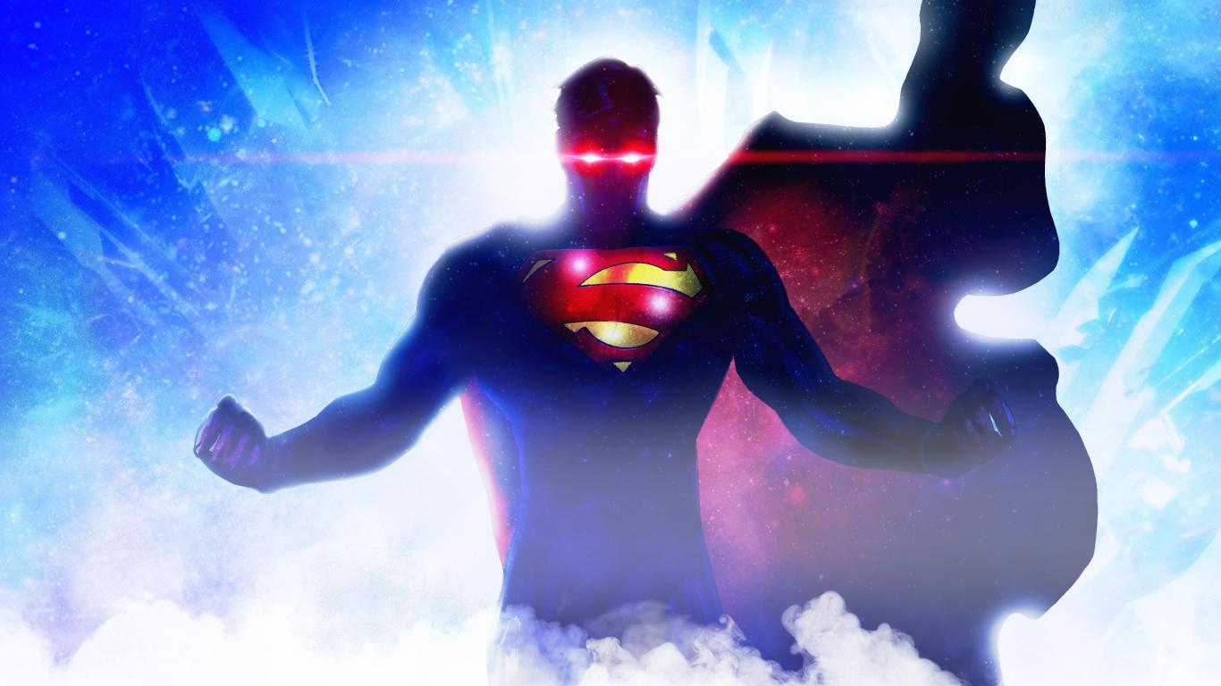 Download 1366x768 Wallpaper Superman Glowing Eyes Comic Art 2018
