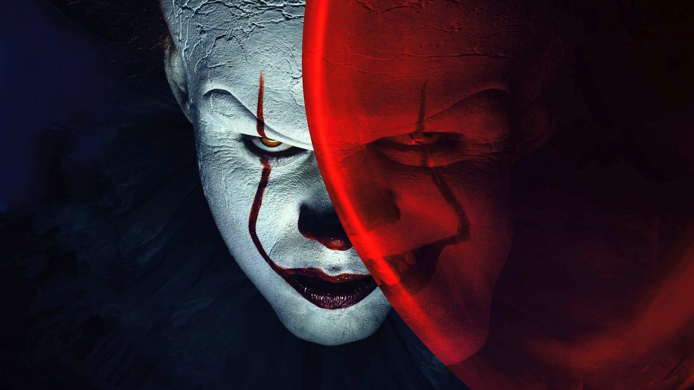 Joker, clown, it, balloon, movie, 1366x768 wallpaper