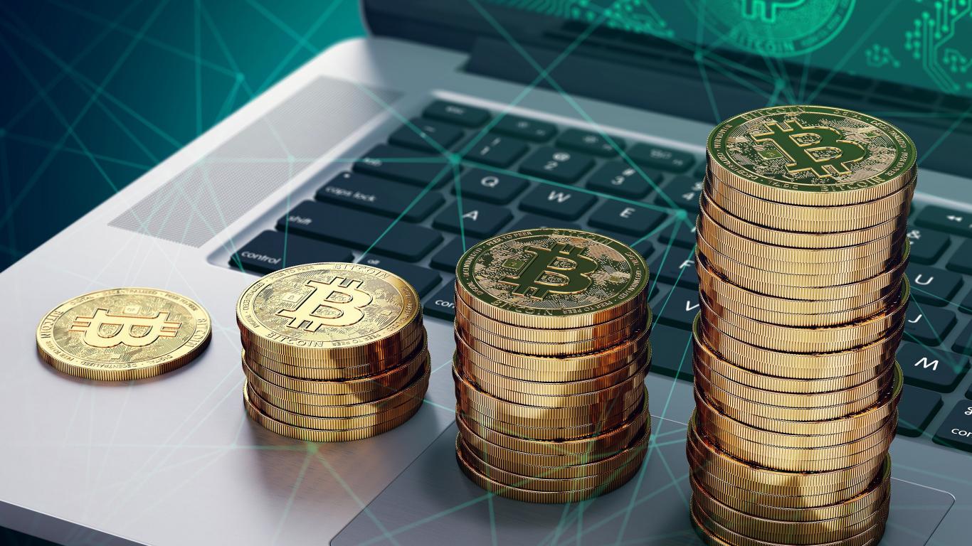 Crypto coins, Bitcoin, tech, 1366x768 wallpaper
