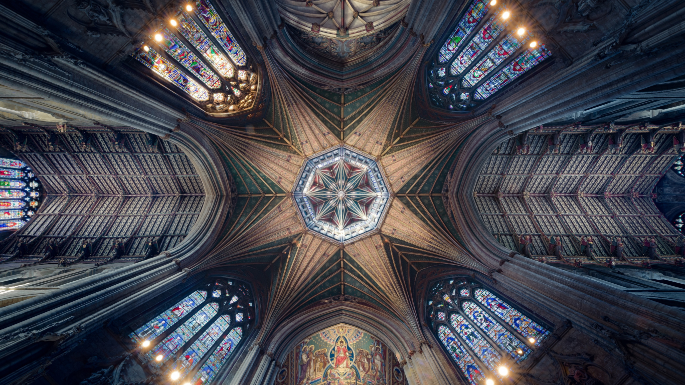 Ceiling, cathedral, symmetrical interior, architecture, 1366x768 wallpaper