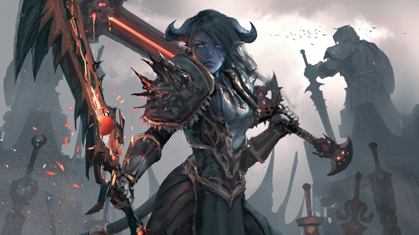 Download 1366x768 Wallpaper World Of Warcraft Artwork Woman