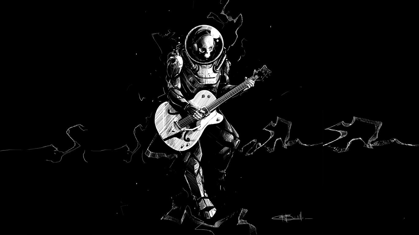 Download 1366x768 Wallpaper Art Skeleton Guitar Play Music Bw Tablet Laptop 1366x768 Hd Image Background 17880